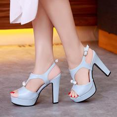 Femmes Similicuir Talon bottier Sandales Escarpins Plateforme À bout ouvert avec Boucle Autres chaussures