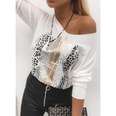 Impresión Leopardo Figura Cuello redondo Manga Larga Casual Camisetas