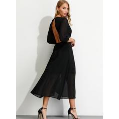 Einfarbig 3/4 Ärmel A-Linien Sexy/Party/Elegant Midi Kleider