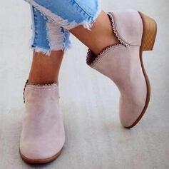 Femmes PU Talon bas Bottes Bottines avec Couleur unie chaussures