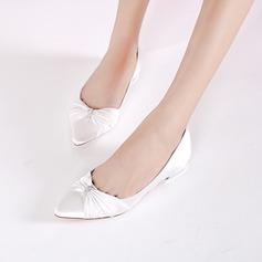 Women's Silk Like Satin Low Heel Closed Toe Flats With Buckle Ruffles