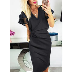 Solid Short Sleeves Bodycon Knee Length Little Black/Casual/Elegant Dresses