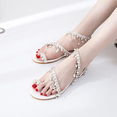 Women's Leatherette Flat Heel Sandals Flats Peep Toe Slingbacks With Imitation Pearl Chain shoes