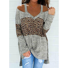 Color Block Leopard Cold Shoulder Long Sleeves Casual Blouses