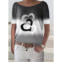 Gradiente Coração Estampado Gola Redonda Manga Curta Camisetas