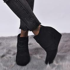Femmes Suède Talon compensé Bottines avec Dentelle chaussures