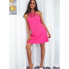 Nadruk Bez Rękawów Suknie shift Nad kolana Nieformalny Sukienki