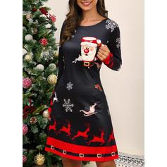 Εκτύπωση Μακρυμάνικο Αμάνικο Πάνω Από Το Γόνατο Χριστούγεννα/Καθημερινό Сукні