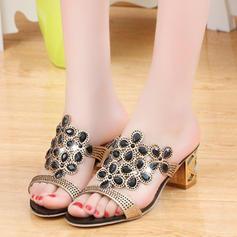 Frauen PU Stämmiger Absatz Sandalen Peep Toe mit Kristall Schuhe
