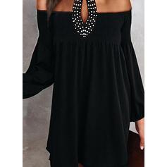 Solid/Beaded Long Sleeves/Lantern Sleeve Shift Above Knee Little Black/Party/Elegant Dresses