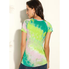 Tie Dye Round Neck Short Sleeves Casual Blouses