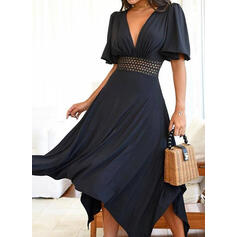 Print 1/2 Sleeves/Puff Sleeves A-line Asymmetrical Casual Skater Dresses