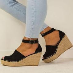 Mulheres Camurça Plataforma Fechados com Fivela sapatos