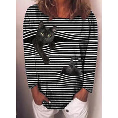 Animal Print Striped Round Neck Long Sleeves Casual T-shirts