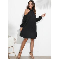 Couleur Unie Manches Longues/Épaule Froide Droite Au-dessus Du Genou Petites Robes Noires/Décontractée Tunique Robes