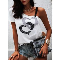 Print Heart One-Shoulder Short Sleeves Casual Blouses