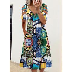 Imprimeu Mâneci Scurte Shift Elbiseleri gündelik Midi Elbiseler