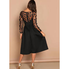 Solid Long Sleeves A-line Little Black/Party Midi Dresses