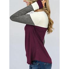 Bloque de color Cuello redondo Manga Larga Casual Camisetas