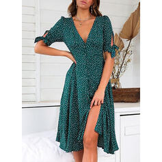 Print/PolkaDot 1/2 Sleeves A-line Knee Length Casual/Vacation Skater Dresses