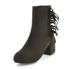 Women's Suede Chunky Heel Pumps Boots Mid-Calf Boots With Tassel shoes