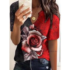 Blok Koloru Kwiatowy Nadruk Dekolt w kształcie litery V Krótkie rękawy T-shirty