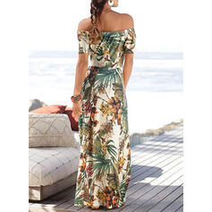 Print/Floral Short Sleeves Sheath Casual/Vacation Maxi Dresses