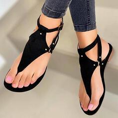 Női PU Lapos sarok Szandál Lakások Peep Toe Flip-flop -Val Szegecs Hálós ruha cipő