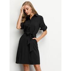 Solid 3/4 Sleeves Sheath Knee Length Little Black Shirt Dresses