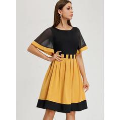 Color-block Short Sleeves A-line Knee Length Vintage/Casual/Elegant Dresses