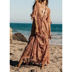 Lace/Solid 1/2 Sleeves A-line Casual/Boho/Vacation Maxi Dresses