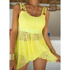 Solid Color Strap U-Neck Vintage Plus Size Swimdresses Swimsuits