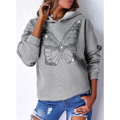 Impresión butterfly Capucha Manga Larga Sudadera Con Capucha