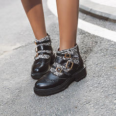 Women's PU Chunky Heel Ankle Boots With Buckle Zipper shoes