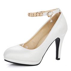 Donna Similpelle Tacco a spillo Stiletto Piattaforma Punta chiusa Stivali sopra il ginocchio con Perla imitazione Fibbia scarpe