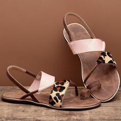 Dla kobiet Skóra ekologiczna Płaski Obcas Sandały Otwarty Nosek Buta Z Łączona obuwie