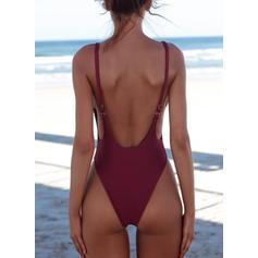 Jednobarevná tanga vysoký řez Popruh Sexy Jednodílné Plavky
