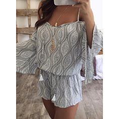 Print Cold Shoulder Long Sleeves Cold Shoulder Sleeve Flare Sleeve Casual Boho Vacation Romper