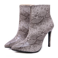 Women's PU Stiletto Heel Ankle Boots With Animal Print Zipper shoes
