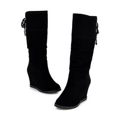 Women's Suede Wedge Heel Mid-Calf Boots shoes
