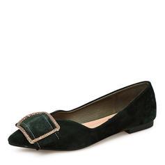 Frauen Veloursleder Flache Schuhe Geschlossene Zehe mit Strass Schuhe