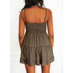 Solid Sleeveless A-line Above Knee Casual Slip/Skater Dresses