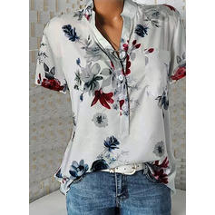 Print V-Neck Short Sleeves Button Up Casual Elegant Shirt Blouses