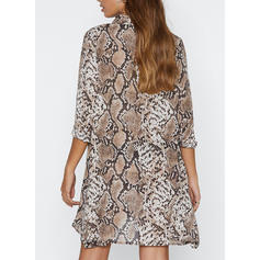 Animal Print 3/4 Sleeves Shift Knee Length Casual/Elegant Dresses