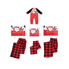 Santa Reindeer Plaid Letter Print Family Matching Christmas Pajamas