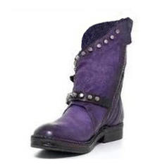Women's Leatherette Low Heel Boots With Rivet Buckle shoes