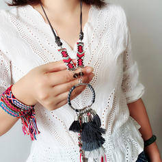 Fashionable Alloy Braided Rope With Tassels Imitation Crystal Women's Fashion Necklace