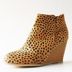 Women's Suede Wedge Heel Ankle Boots With Animal Print Zipper shoes