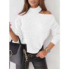 固体 ワンショルダー カジュアル セーター