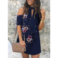 Print/Floral Short Sleeves/Cold Shoulder Sleeve Shift Above Knee Casual/Elegant Dresses